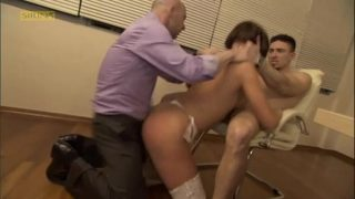 Sexy wife needs money and fucked in front of husband (with fun porn accident!!)